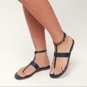 Colleen Navy Blue Leather Flat Sandals